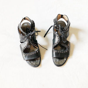 Proenza Schouler Black Leather Lace Up Sandal 38.5